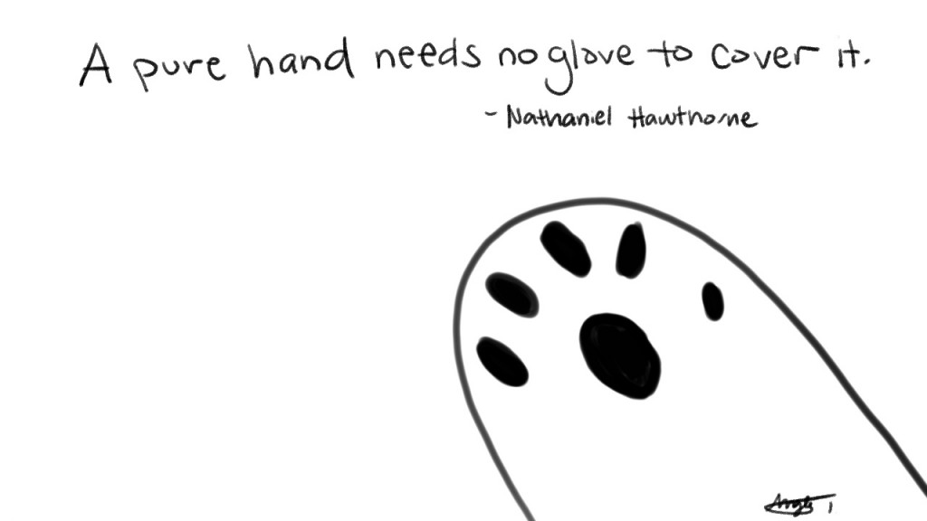 A pure hand needs no glove to cover it. - Nathaniel Hawthorne