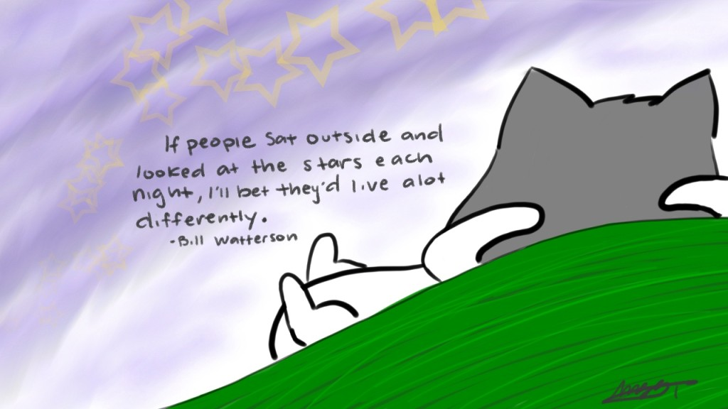 If people sat outside and looked at the stars each night, I'll bet they'd llive alot differently. - Bill Watterson
