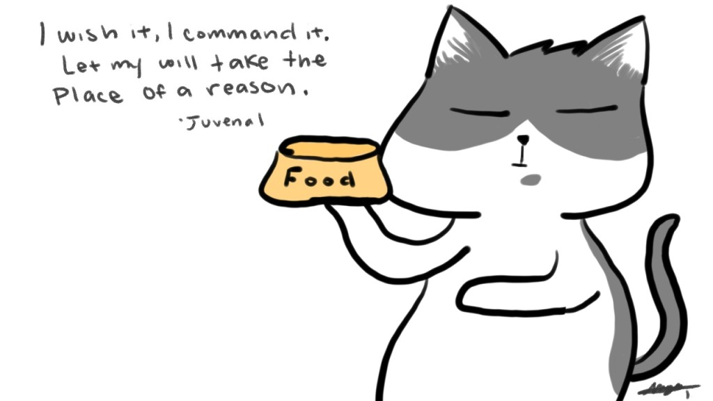 I wish it, I command it. Let my will take the place of reason. - Juvenal